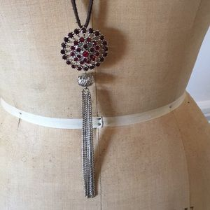 Jewelry - Clustered Crystals Tassel Necklace